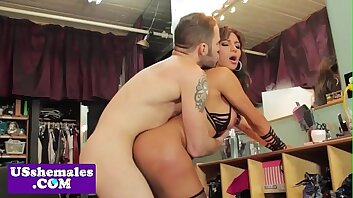 Deepthroating shemale gets fucked by her bf