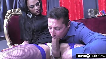 Keylla Marques transsexual fucks a passive shemale lover with his big cock