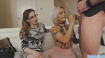 Guy fucks TS Foxxy in front of his wife