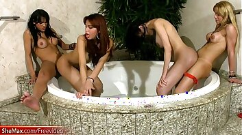 Tranny chicks give blowjobs and ride thick cocks in foursome