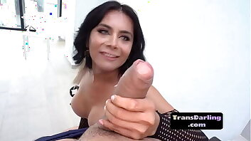 Busty trans beauty shows off lingerie before bj