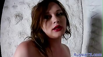 Thick russian tgirl with bigtits jerking cock